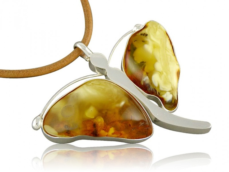Silver art - handmade necklace with amber - butterfly