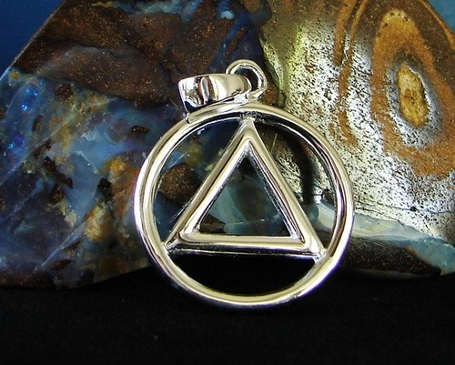 Sterling Silver Alcoholics Anonymous Aa Symbol Flat 1316 Pendant