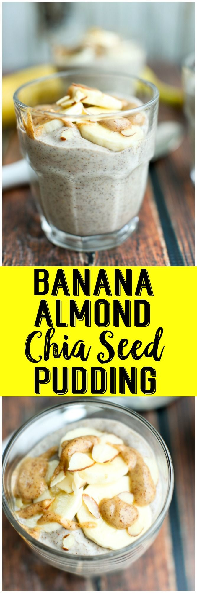 Creamy and vegan Banana Almond Chia Seed Pudding. Full of plant-based protein, this makes a healthy breakfast or snack! Gluten-free breakfast also