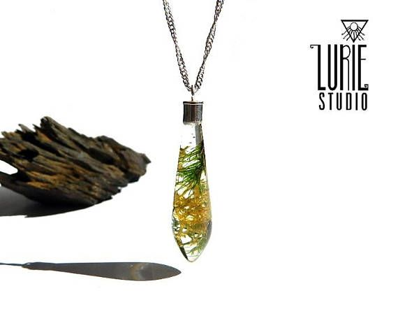 Real moss Pendant with Sterling Silver Bail and Chain