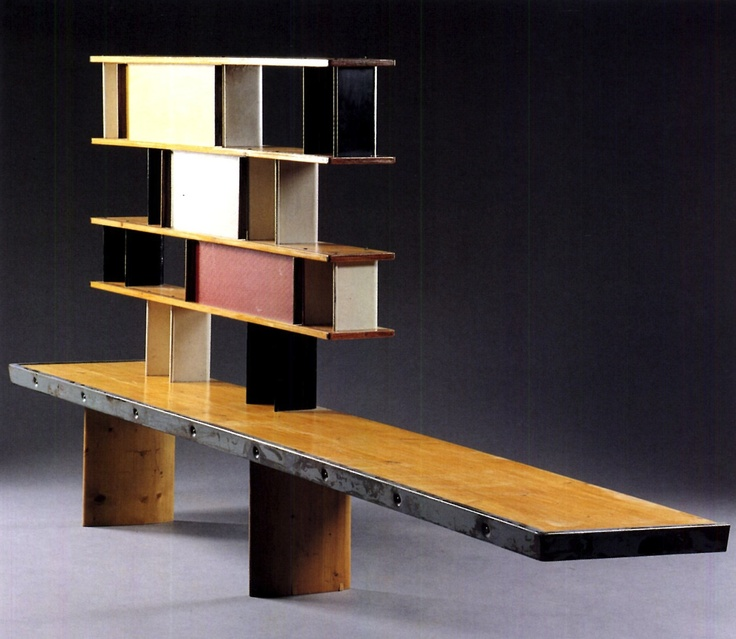Tunisie bookcase, from the Maison de la Tunisie, Cité Universitaire, Paris, Manufactured by Les Ateliers Jean Prouvé, France. Designed by Charlotte Perriand and Jean Prouvé, 1953