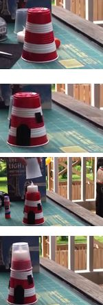 Whether you live along the ocean or not, lighthouses are captivating for kids! Make your own little red lighthouses with some recycled plastic cups.