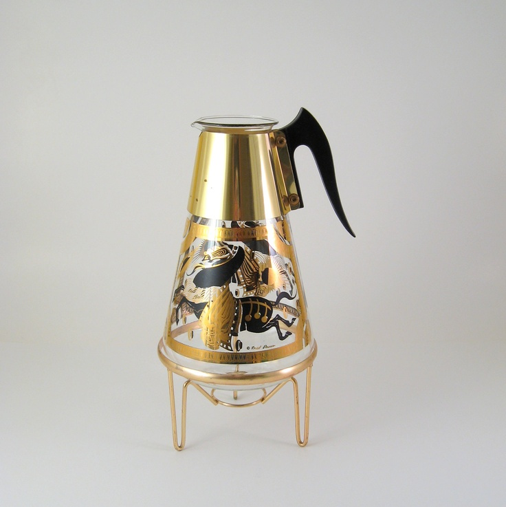 fred press glassware | RESERVED - Vintage Fred Press Coffee Carafe with Stand, Mid-Century ...