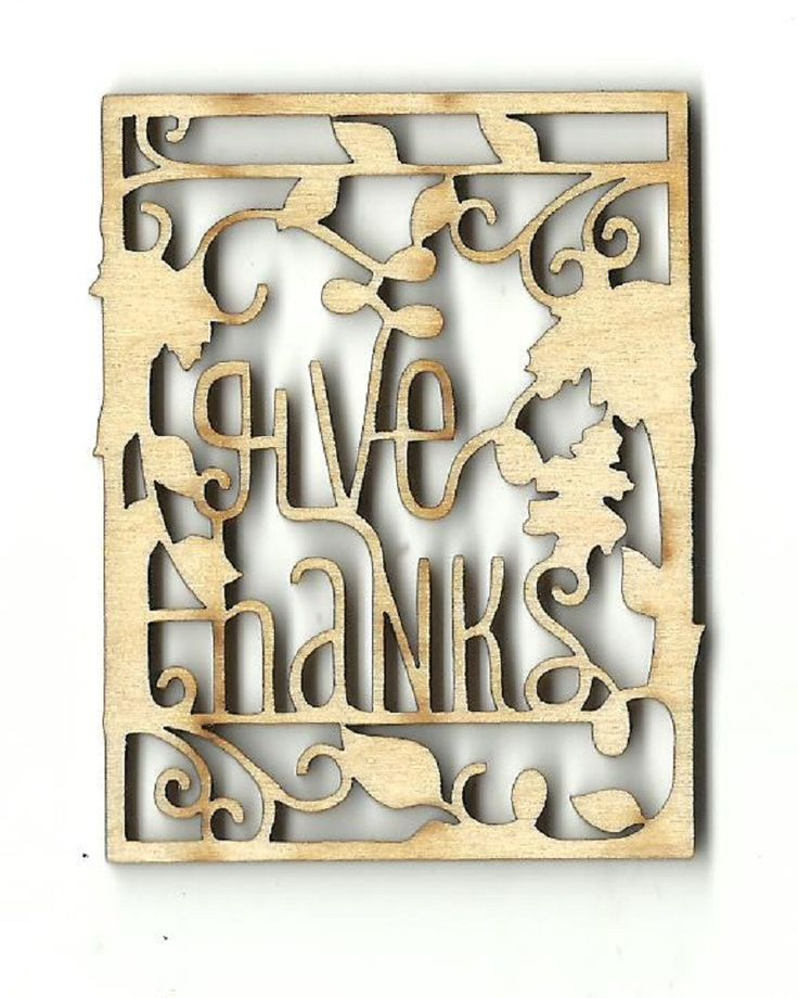 Give Thanks Thanksgiving Sign Unfinished Laser Cut Wood Shape FAL244
