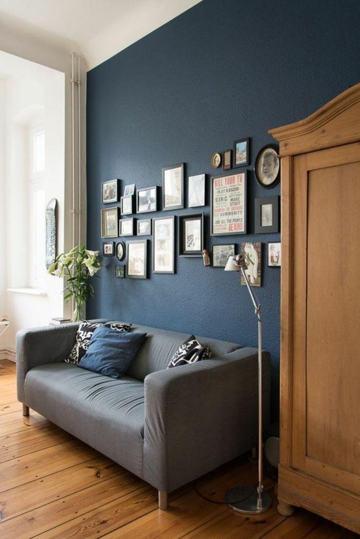 Déco Salon - salon bleu petrole avec canapé en gris clair et ...