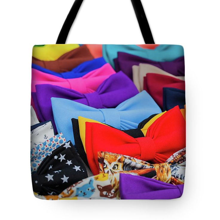 Bow Ties Tote Bag by Svetlana Iso.  The tote bag is machine washable, available in three different sizes, and includes a black strap for easy carrying on your shoulder.  All totes are available for worldwide shipping and include a money-back guarantee. #SvetlanaIso #SvetlanaIsoFineArtPhotography #Photography #ArtForHome #InteriorDesign #Color #Hipster
