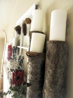 Christmas Mantel: Log candle holders