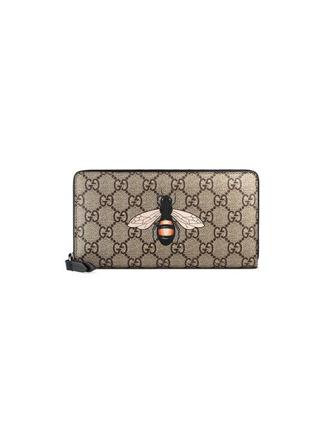 b6ae48036160 GUCCI Bee print GG Supreme zip around wallet. #gucci # | Gucci Men