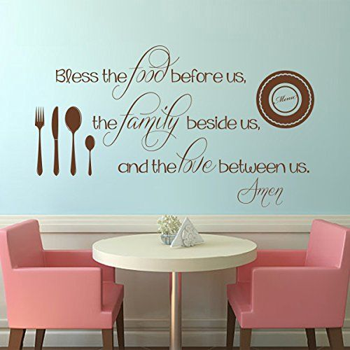Kitchen Wall Decal Thanksgiving Bless The Food Love Inspiration Word Vinyl  Decor Part 62