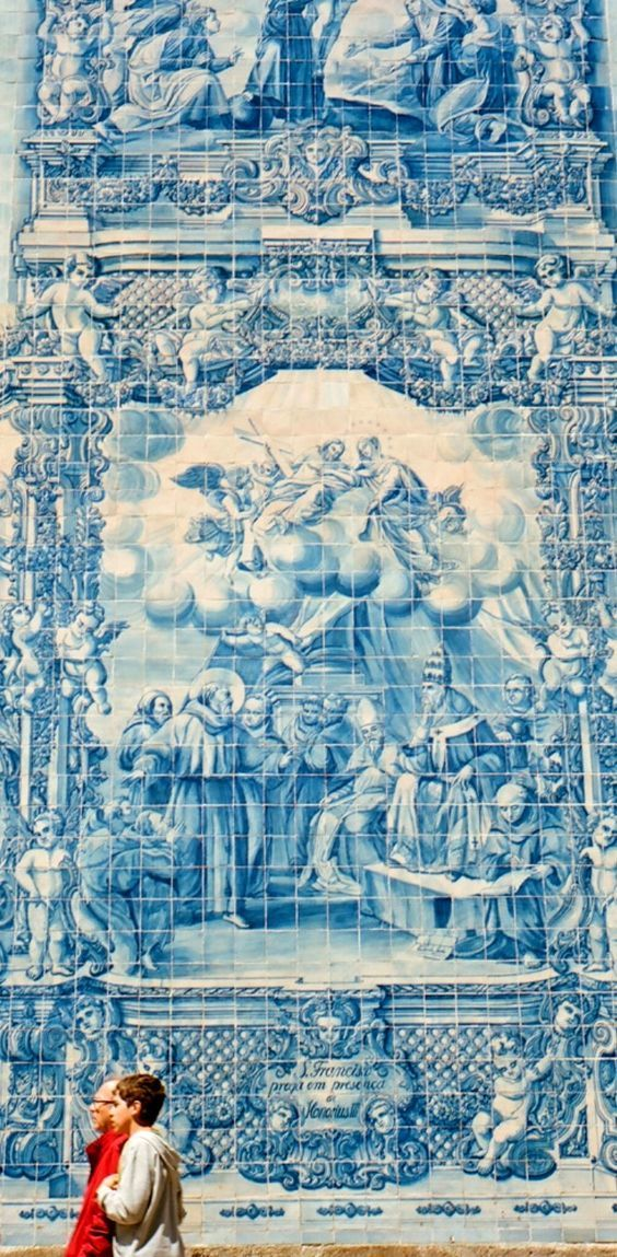 the wall of azulejo, porto, portugal