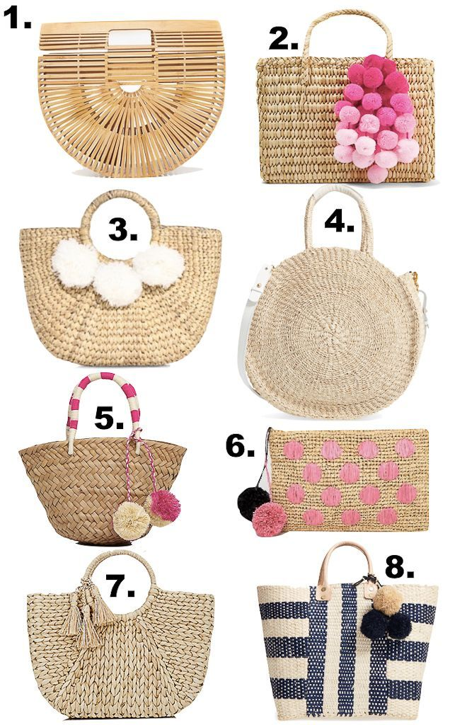 Basket bag, straw tote, best summer beach bags, bamboo arc bag, pom pom tote - 8 summer basket bags you need - click the photo for details!
