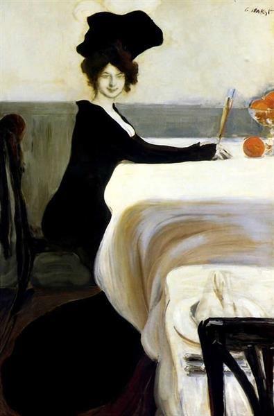 Женщина в чёрном платье картина