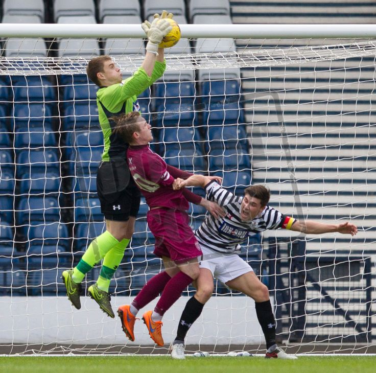 Queen's Park's keeper Wullie Muir gathers the ball during the SPFL League Two game between Queen's Park and Arbroath.
