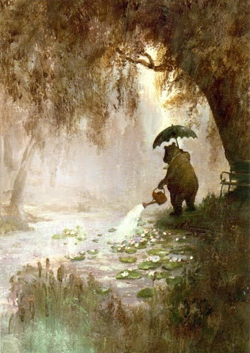 Rudi Hurzlmeier, bear, watering can, lake, umbrella