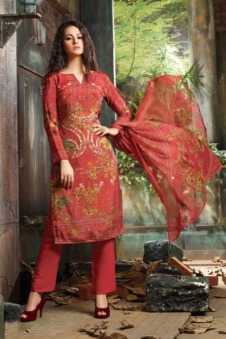 Red Crepe Punjabi Salwar Suit with Dupatta