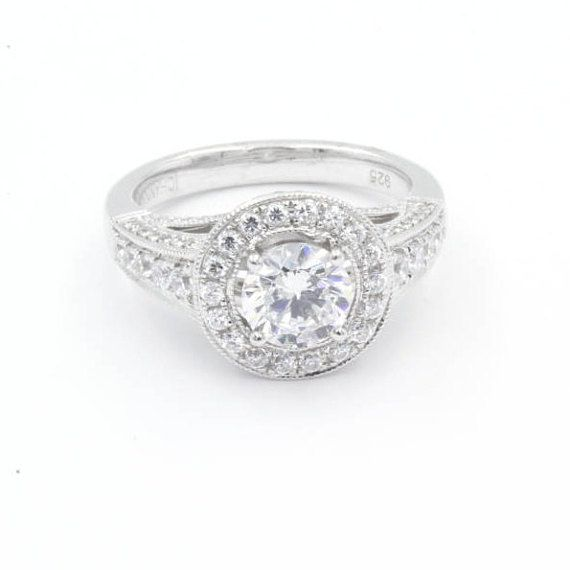 1.0 ct Round Cut CZ Engagement Ring, Size 6.5, 925 Sterling Silver w/ Halo (774)
