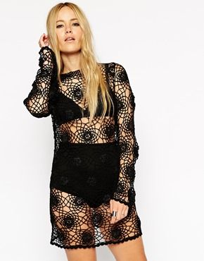 ASOS Crochet Tunic Dress with Long Sleeves