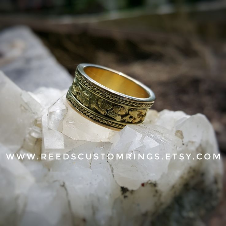 18K Gold ring with natural Placer gold nuggets available now @ www.reedscustomrings.etsy.com #goldweddingrings #goldring #goldrope #gold  #silverinlay #goldinlay #usmcvet #goldjewelry #silverjewelry #silverring #weddingrings  #coinring #skulls #steampunkstyle #goldnugget #ring #coinring #vintagering #antiquering #antiquejewelry #coinjewelry #mensjewelry #mensfashion #womensjewelry #womensfashion #etsy #etsyseller #weddingring #18kgold #18K