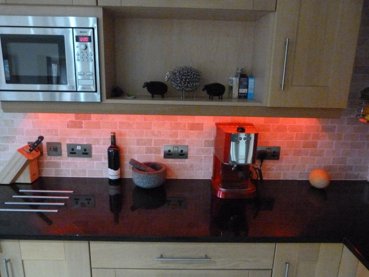 Colour changing LED Strip = perfect for your under kitchen cabinet lighting    http://www.downlightsdirect.co.uk/led-strip.html