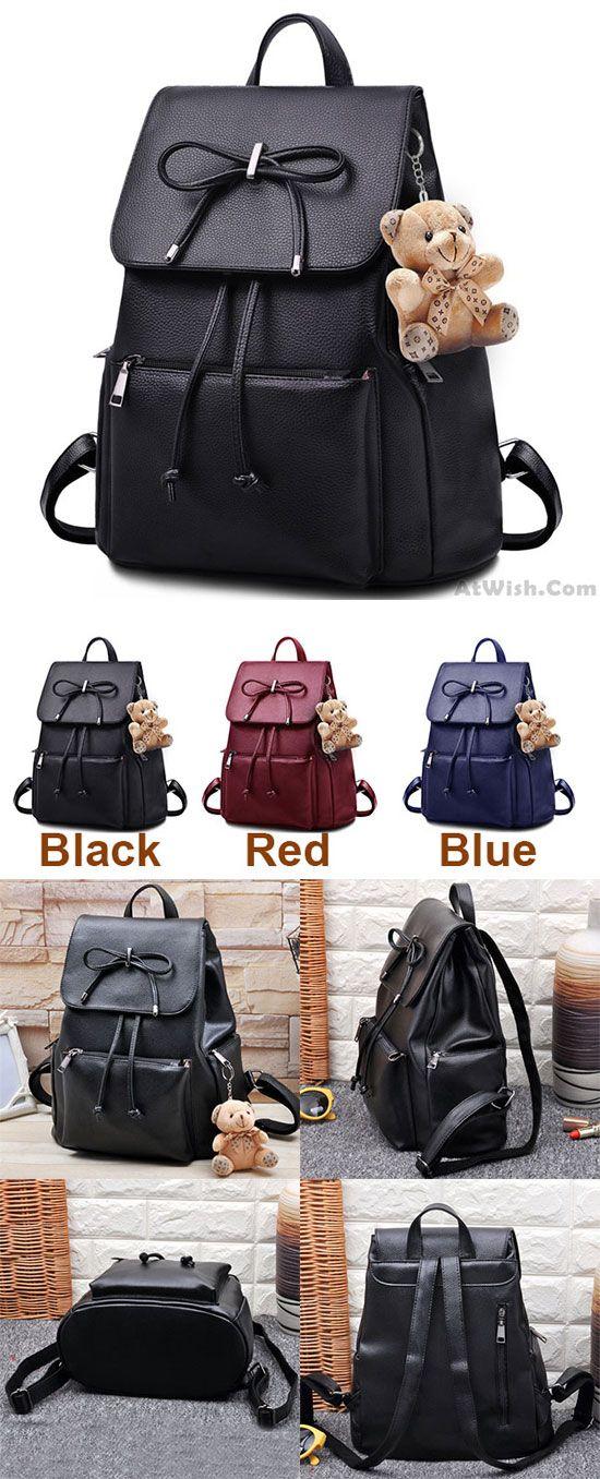 Elegant Bear Doll PU Flap Draw String Large Capacity Bow College Backpacks for big sale! #elegant #bow #bear #Backpack #bag #college #student