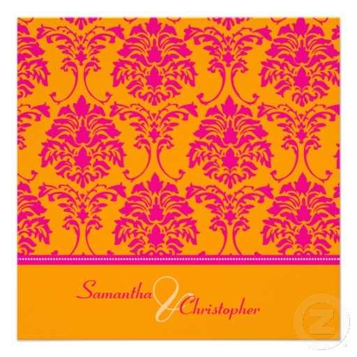49 Best Images About Hot Pink And Orange Wedding Invitations On Pinterest