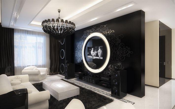 Download wallpapers hallway, dark interior, balck and white, modern design, modern apartment, interior idea