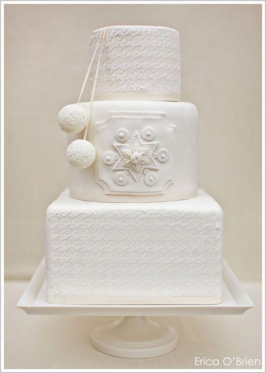 Winter White Houndstooth Cake