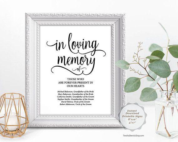 In Loving Memory Sign Editable Pdf Template Elegant Rustic Wedding Calligraphy Forever Present In O In Loving Memory Remembrance Candle Wedding Calligraphy