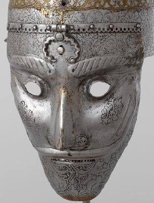 Iran, Safavid engraved steel helmet mask, 16th century, Moscow