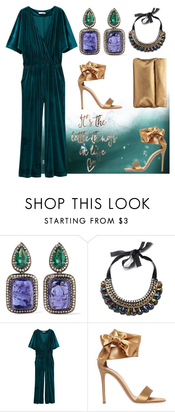 """""""Teal Jumpsuit"""" by tisshik ❤ liked on Polyvore featuring Amrapali, MANGO, Gianvito Rossi and Jigsaw"""