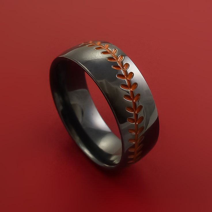 Black Zirconium Baseball Ring with Red Stitching Fan Band Any Size and Color Red, Green, Blue, Black Inlay