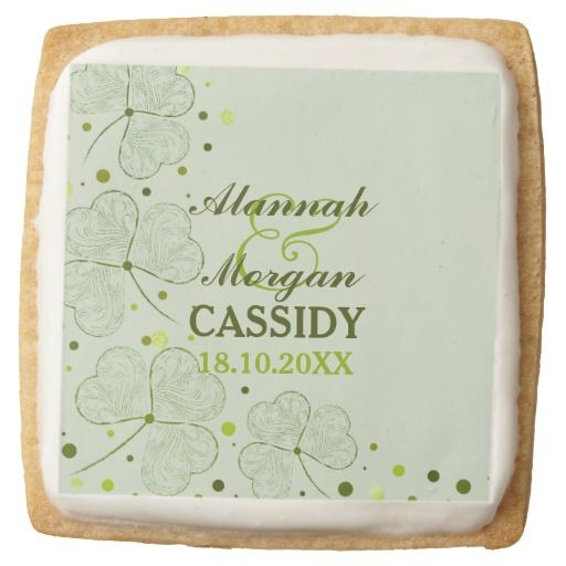 Shamrocks and Polka Dots 2 Square Premium Shortbread Cookie. Customize text.