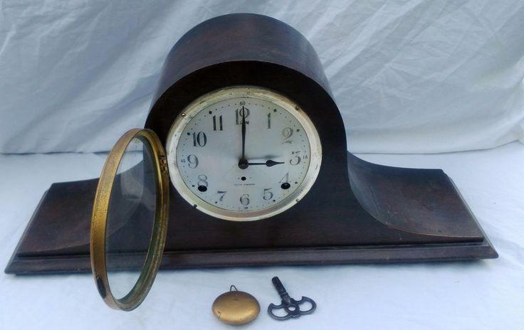 Antique Seth Thomas Wood Mantel Shelf Clock Cymbal #7 With Key - Please Read