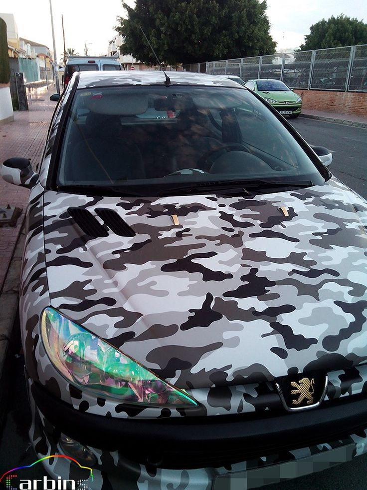 Pole Camouflage car wrapping vinyl black and white