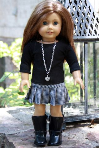 Houndstooth Pleated Skirt and Black Tee for American Girl AG Doll – Avanna Girl