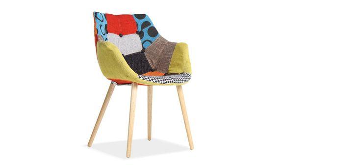 Chaise en tissu capitonnée effet patchwork ELE :: Mychaise