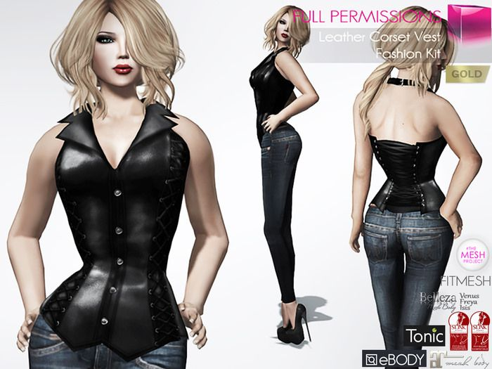 https://flic.kr/p/ReQxvf | Full Perm Mesh Leather Corset Vest Fitmesh | marketplace.secondlife.com/p/Full-Perm-Mesh-Leather-Corse...
