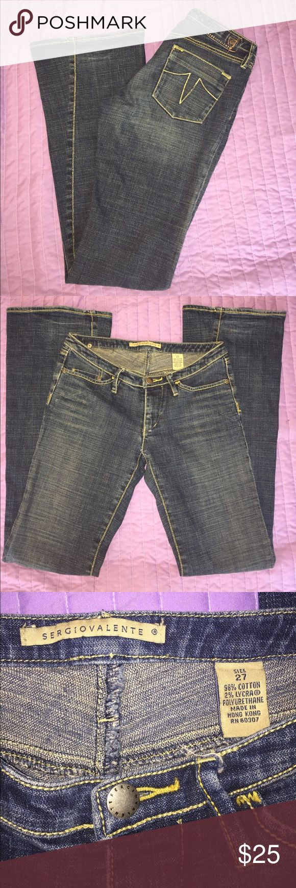 Sergio Valente Jeans Size 27 This is a pair of Sergio Valente jeans. They are blue with a flare legs and are in good pre-owned condition. Sergio Valente Jeans Flare & Wide Leg