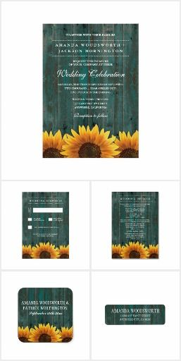 Rustic Sunflowers WEDDING SET COLLECTION Barn Wood Turquoise Rustic Country Chic  Sunflowers Wedding Set Invite Announcements Invitations RSVP Address Labels Stickers Labels Cards & More!