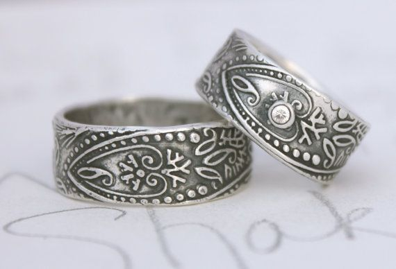 bohemian wedding band ring set with white by peacesofindigo