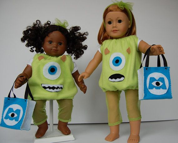Too Cute! Halloween Costume Mike Wazowski MONSTERS INC by BellaandHoot made using the LJC Halloween costumes pattern. http://www.pixiefaire.com/collections/18-inch-doll-costume-patterns/products/halloween-costumes-for-dolls and free treat bag tutorial http://www.pixiefaire.com/blogs/doll-tips-and-tutorials/9813416-how-to-make-a-halloween-treat-bag-for-18-dolls