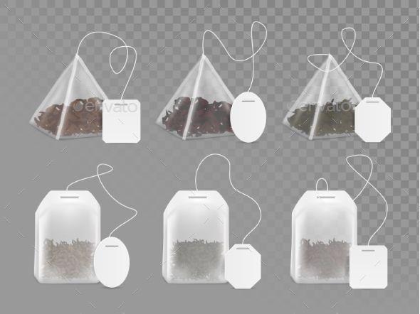 Download Tea Bag With Empty White Label Vector Mock Up Set Tea Bag Bag Illustration Bag Mockup