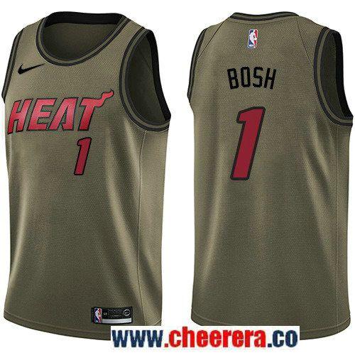 Men's Nike Miami Heat #1 Chris Bosh Green Salute to Service NBA Swingman Jersey