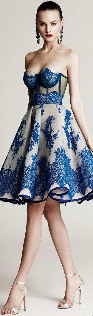Cristina Savulescu ~ Strapless Cocktail Dress w Blue Embroidery 2015