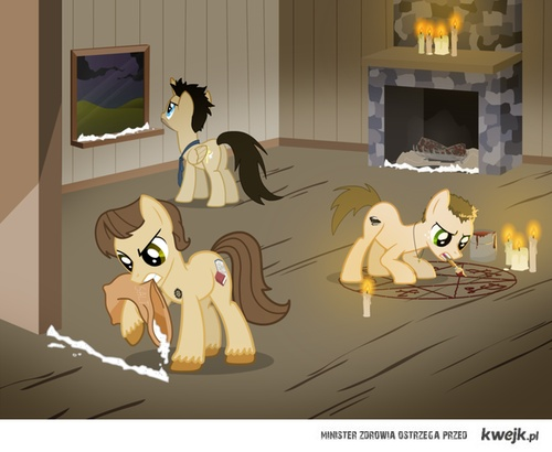 My Little Pony supernatural Of course San and Dean are earth ponies! Cas is an Alicorn.