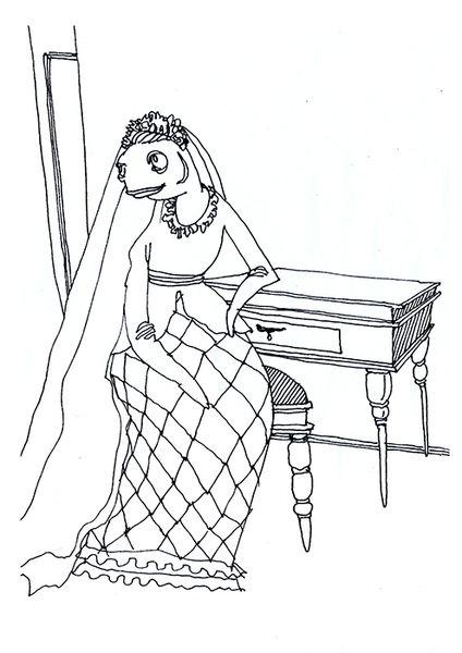 «Рыбное семейство. Невеста». Анастасия Дружинская. #helloposter #poster #posters #art #modernart #printart #illustrators #illustration