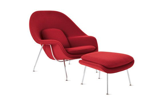 Womb Chair by Eero Saarinen iconic modern furniture which is an excellent addition to an living room.  Still safe for children because of the soft rounded nature of the chair