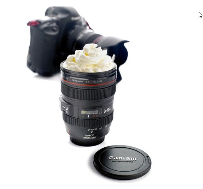 This fun Camera Lens Stainless Steel Coffee Mug is a great Father's Day gift idea for photographers, BPA-free and under 10 bucks! Photography buff here!
