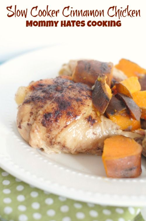 Slow Cooker Cinnamon Chicken with Sweet Potatoes -- Just 4 ingredients ... dump-and-go ... uses economical chicken drumsticks. Nice!