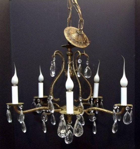 Five Light Brass Crystal Chandelier Mid Century Dining Room Bedroom Spanish